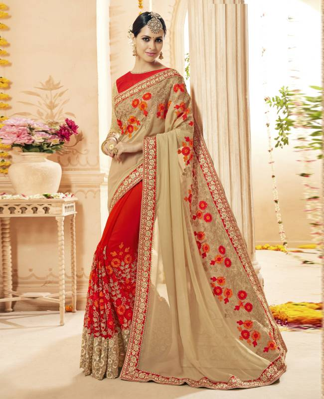 Embroidered Faux Georgette Saree (Sari) in Red