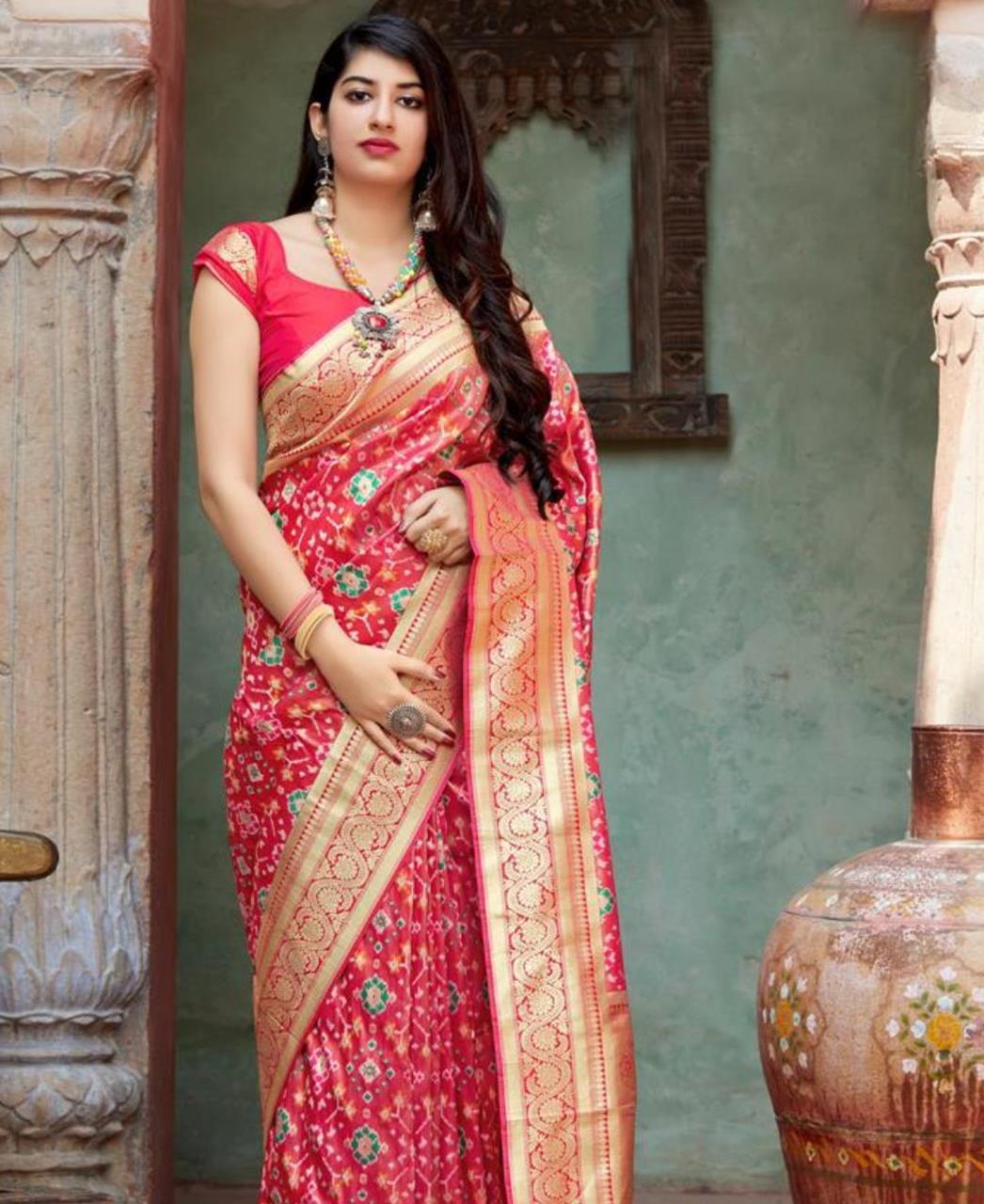 Woven Banarasi Silk Saree (Sari) in Red