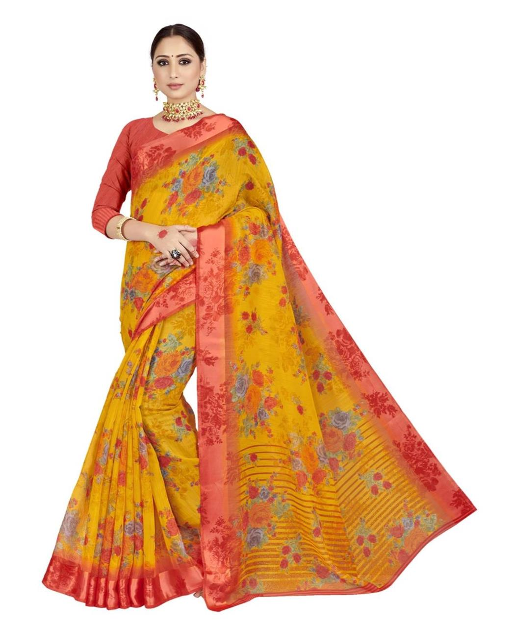 Printed Cotton Saree in Yellow