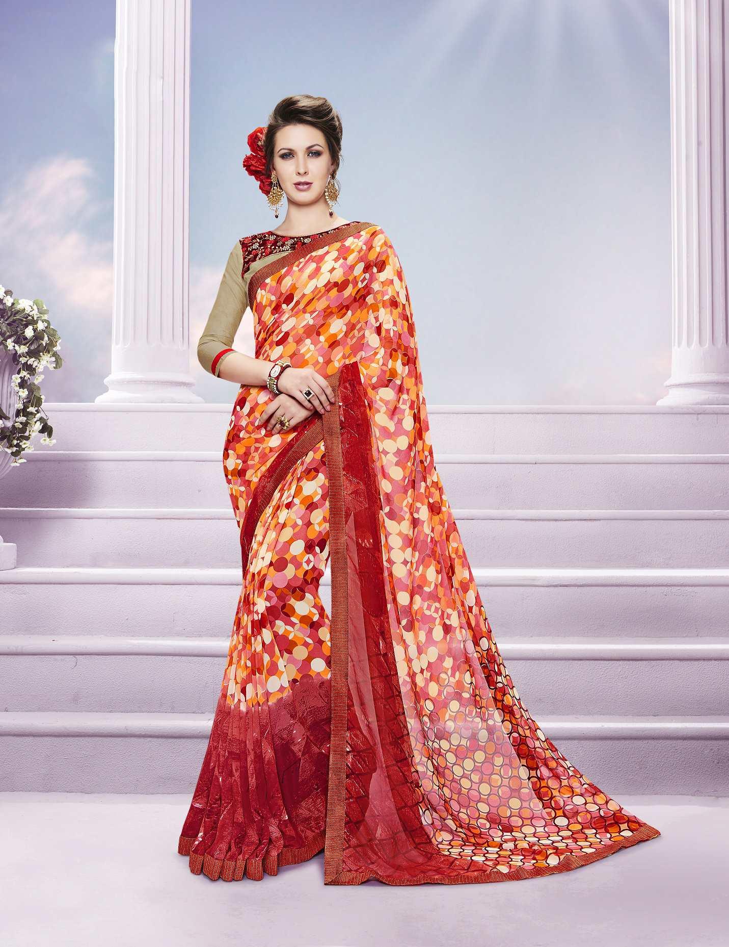 Printed Georgette Saree (sari) in Red