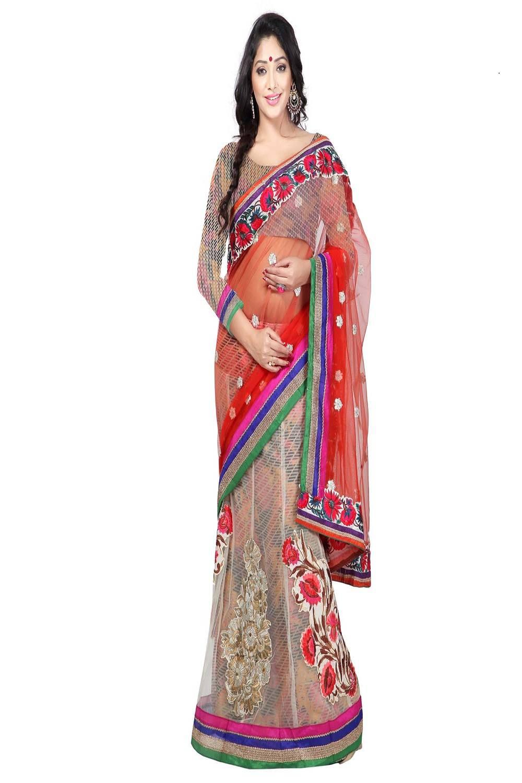 Embroidered Net Saree (Sari) in White