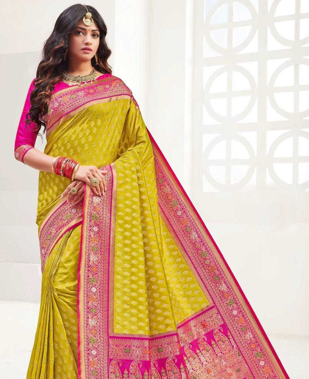 Printed Silk Saree in Lemon