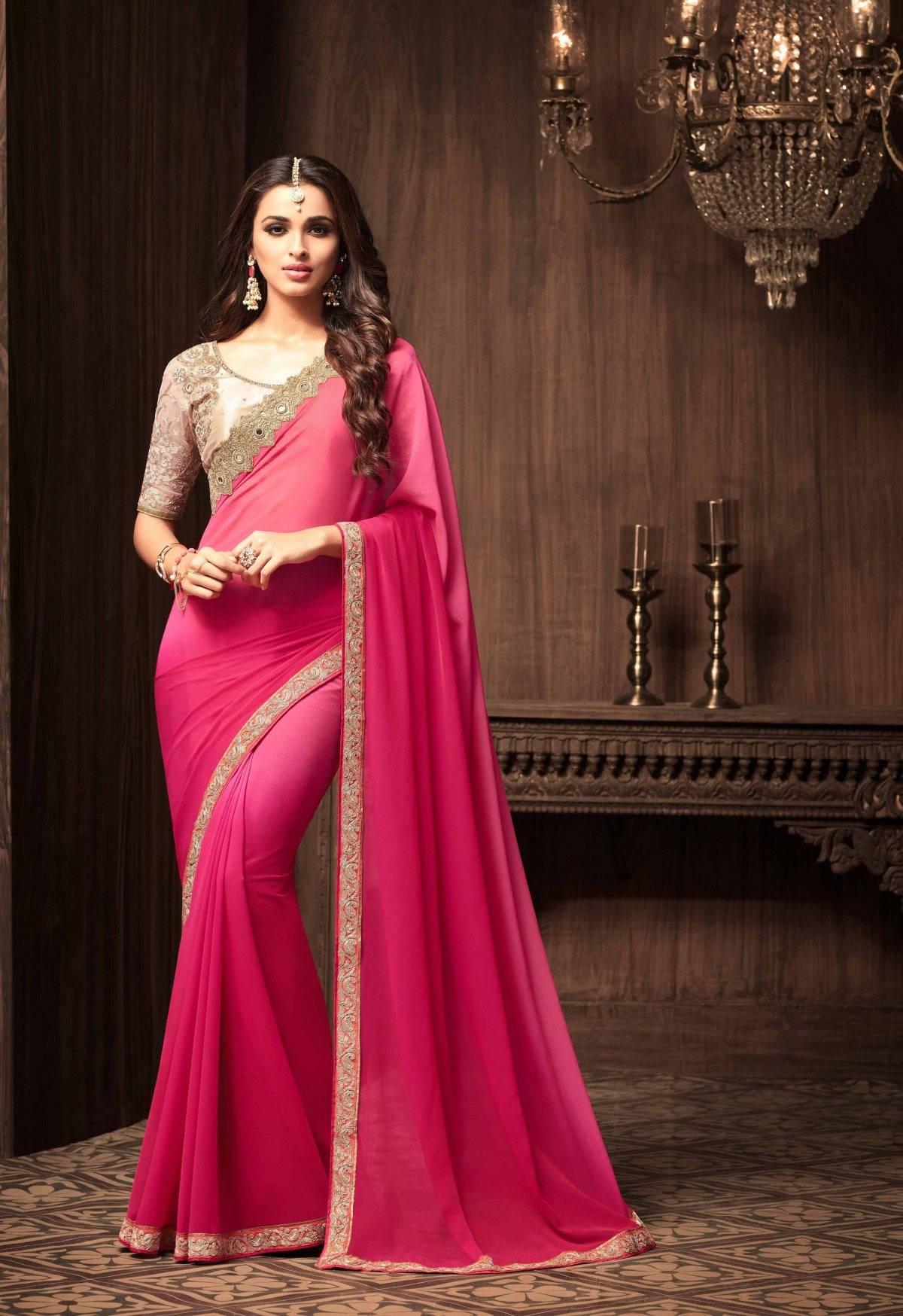 Stone Work Georgette Saree (sari) in Pink
