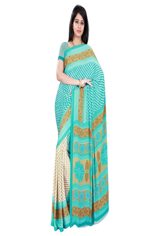Printed Crape Saree (Sari) in Green