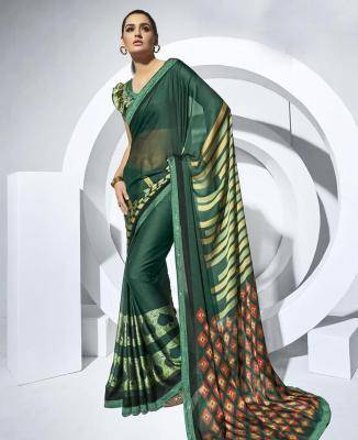 Printed Chiffon Saree in OLIVE