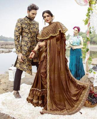 Embroidered Lycra Saree in Brown
