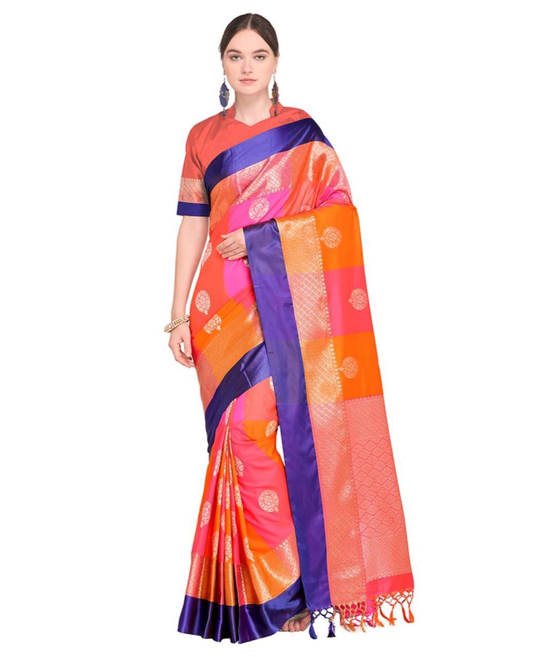 Jari Silk Saree (Sari) in Orange