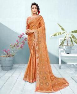 Lace Chiffon Saree in Peach