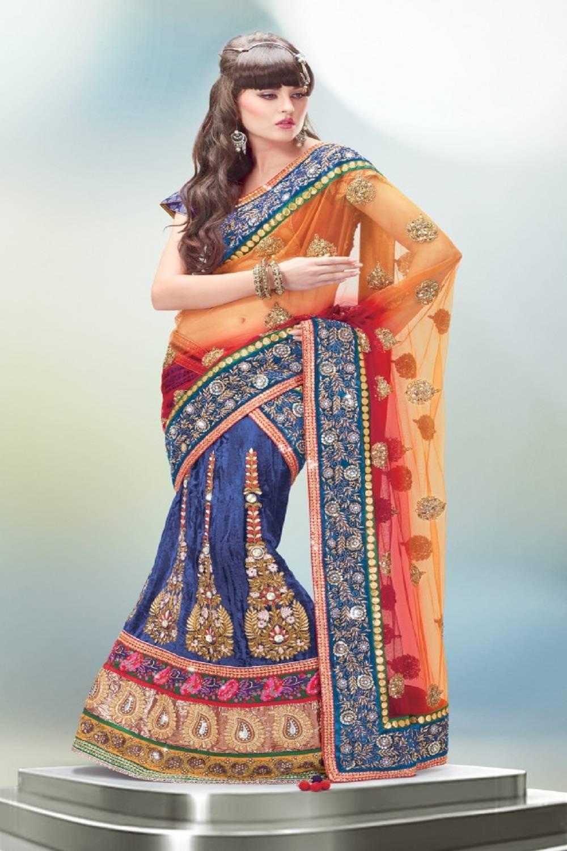 Embroidered Viscose Saree (Sari) in Orange