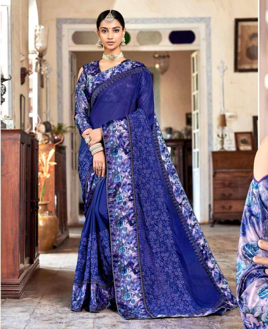 Border Work Georgette Saree (Sari) in Navyblue