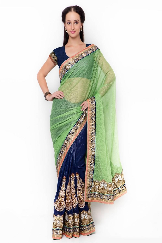Embroidered Lycra Saree (Sari) in Blue