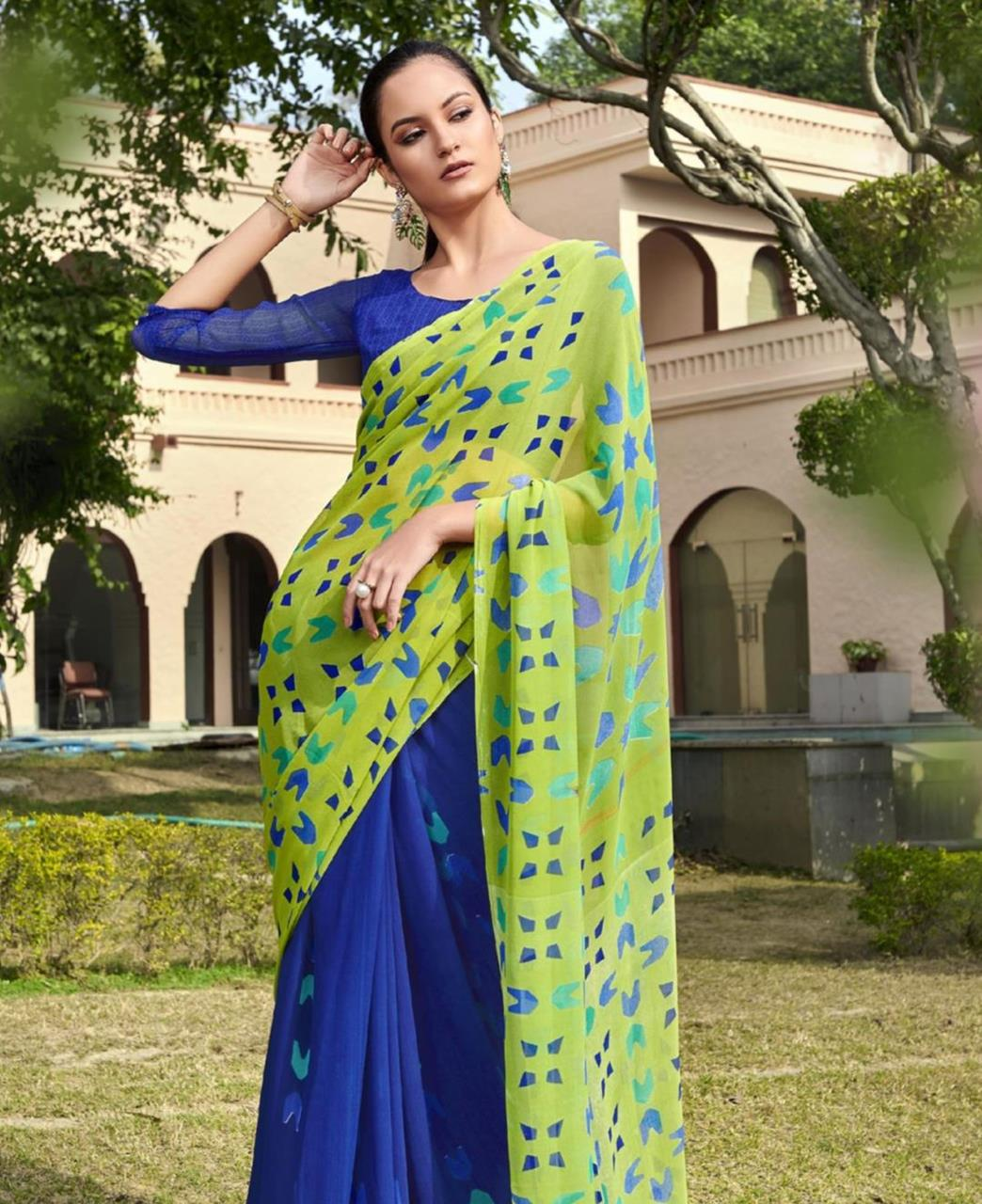 Printed Georgette Saree in Light Green  ,  Blue