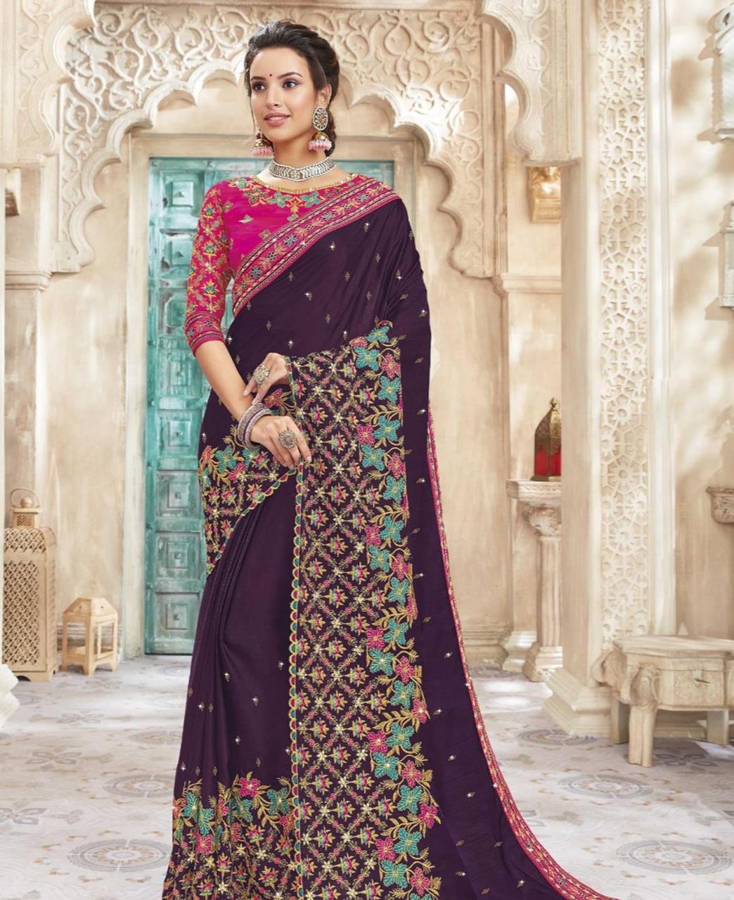 HandWorked Silk Saree in Purple
