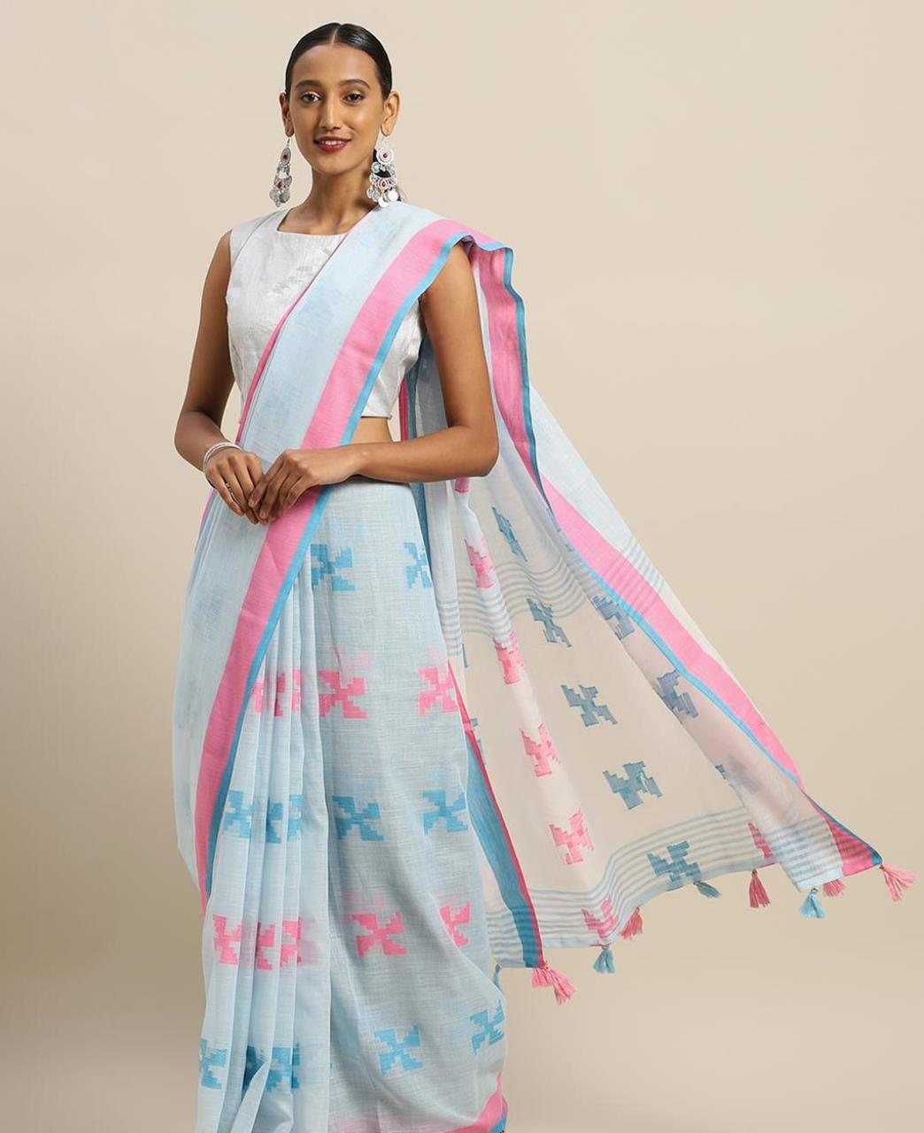 Cotton Saree in Baby Blue