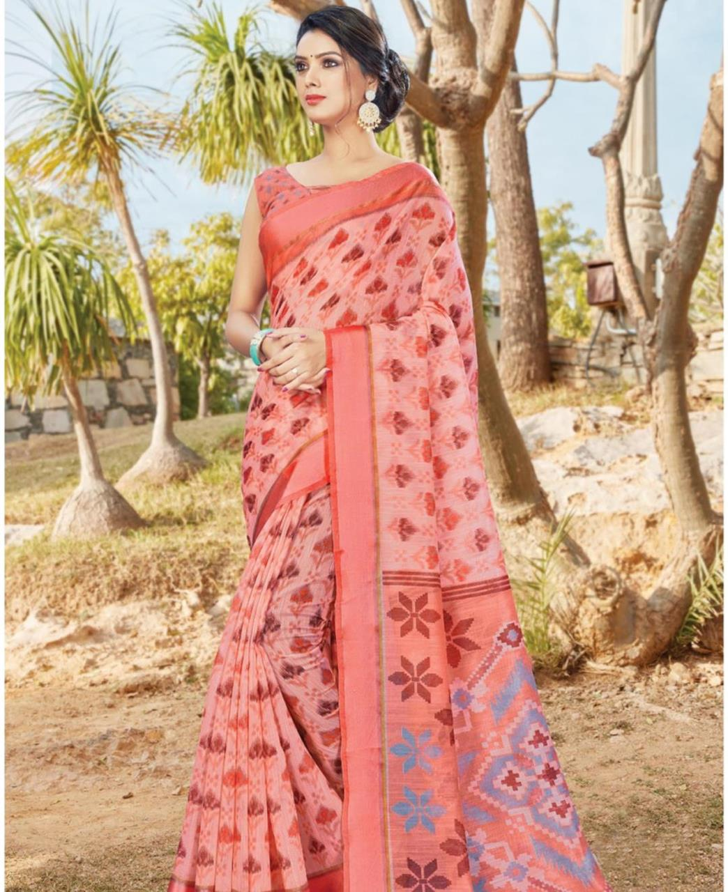 Printed Cotton Saree in Peach