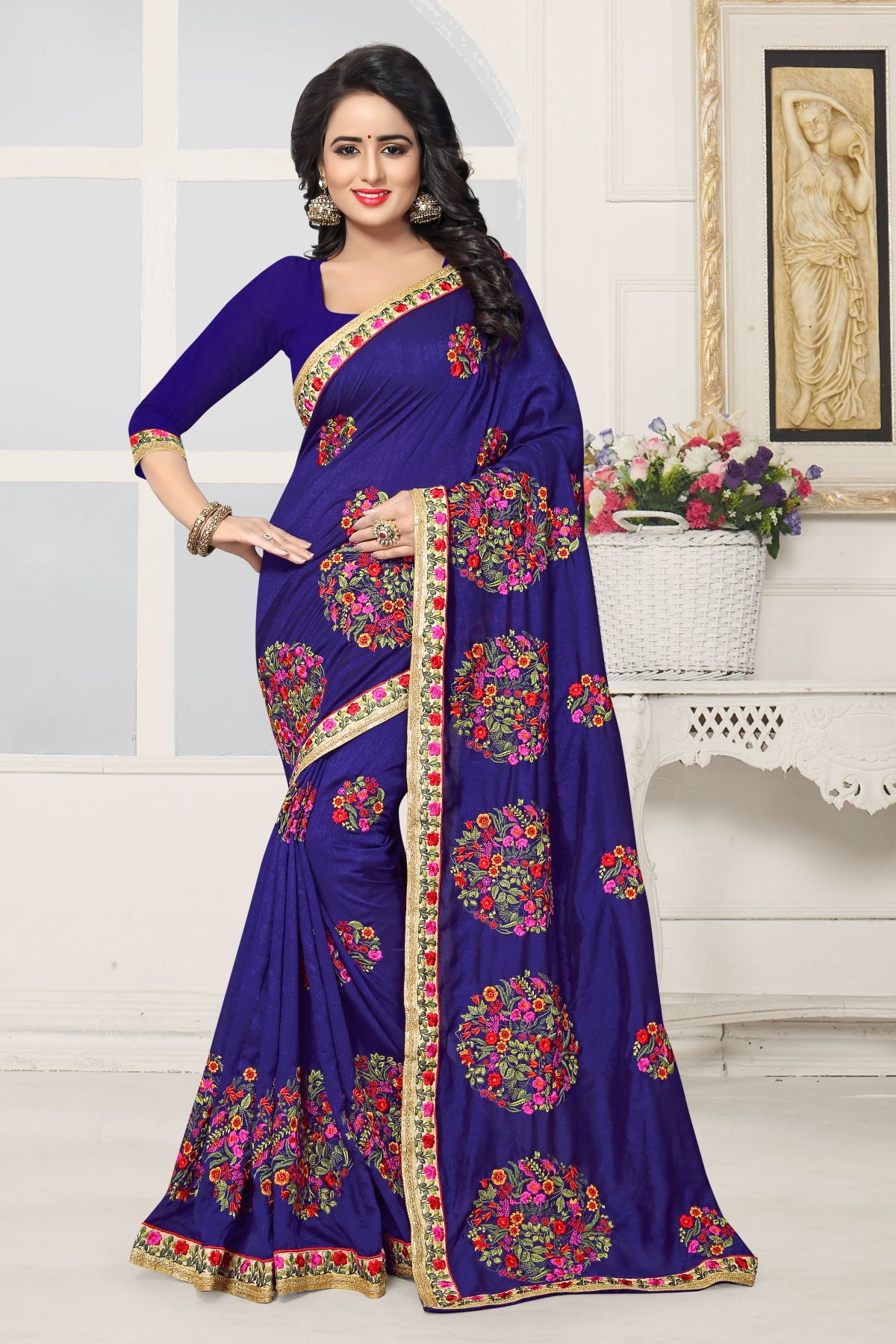 Embroidered Art Silk Saree in Blue