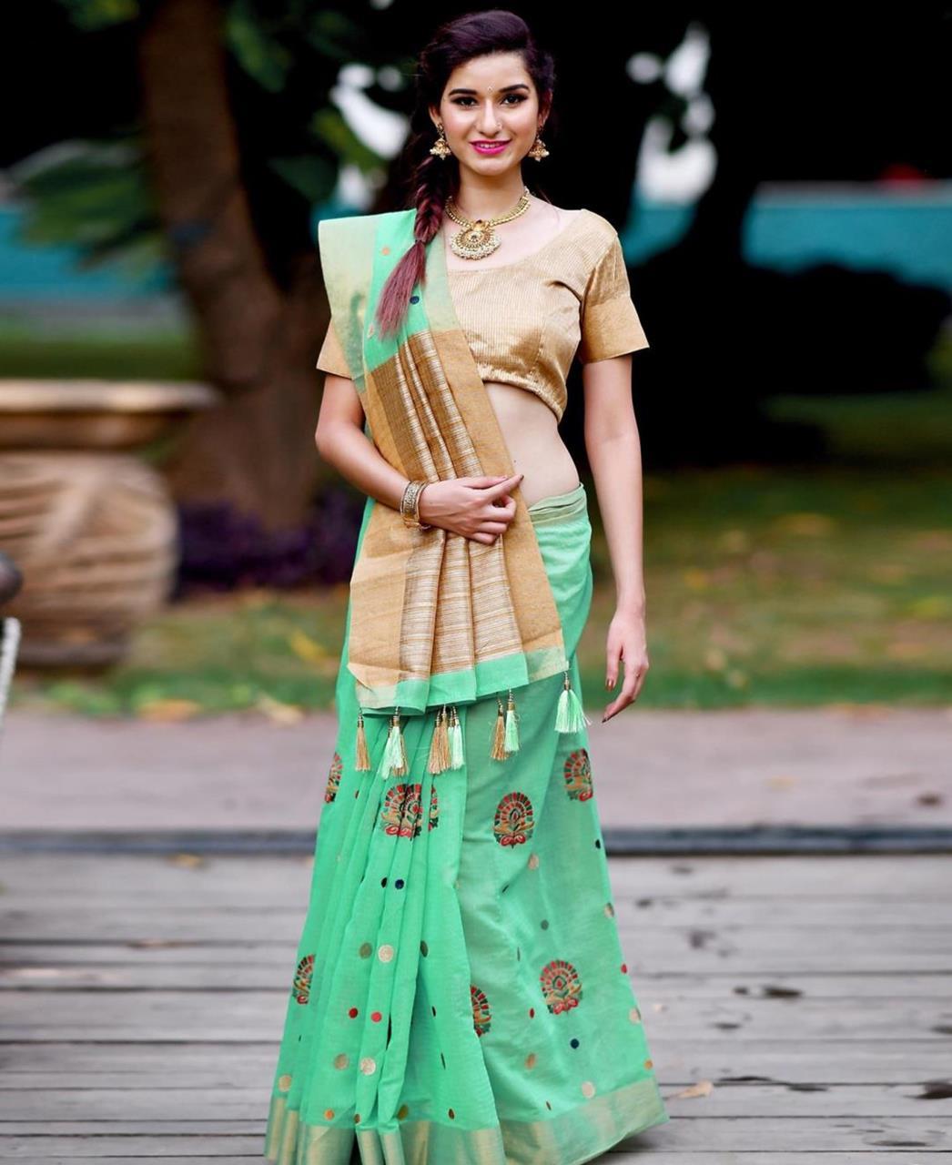 Zari Banarasi Silk Saree (Sari) in SEAGREEN
