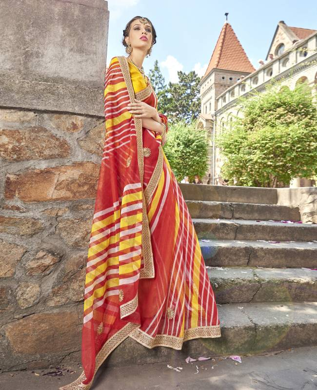 Lehriya Supernet Saree (Sari) in PeachPuff