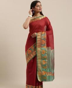 HandWorked Cotton Saree in Maroon