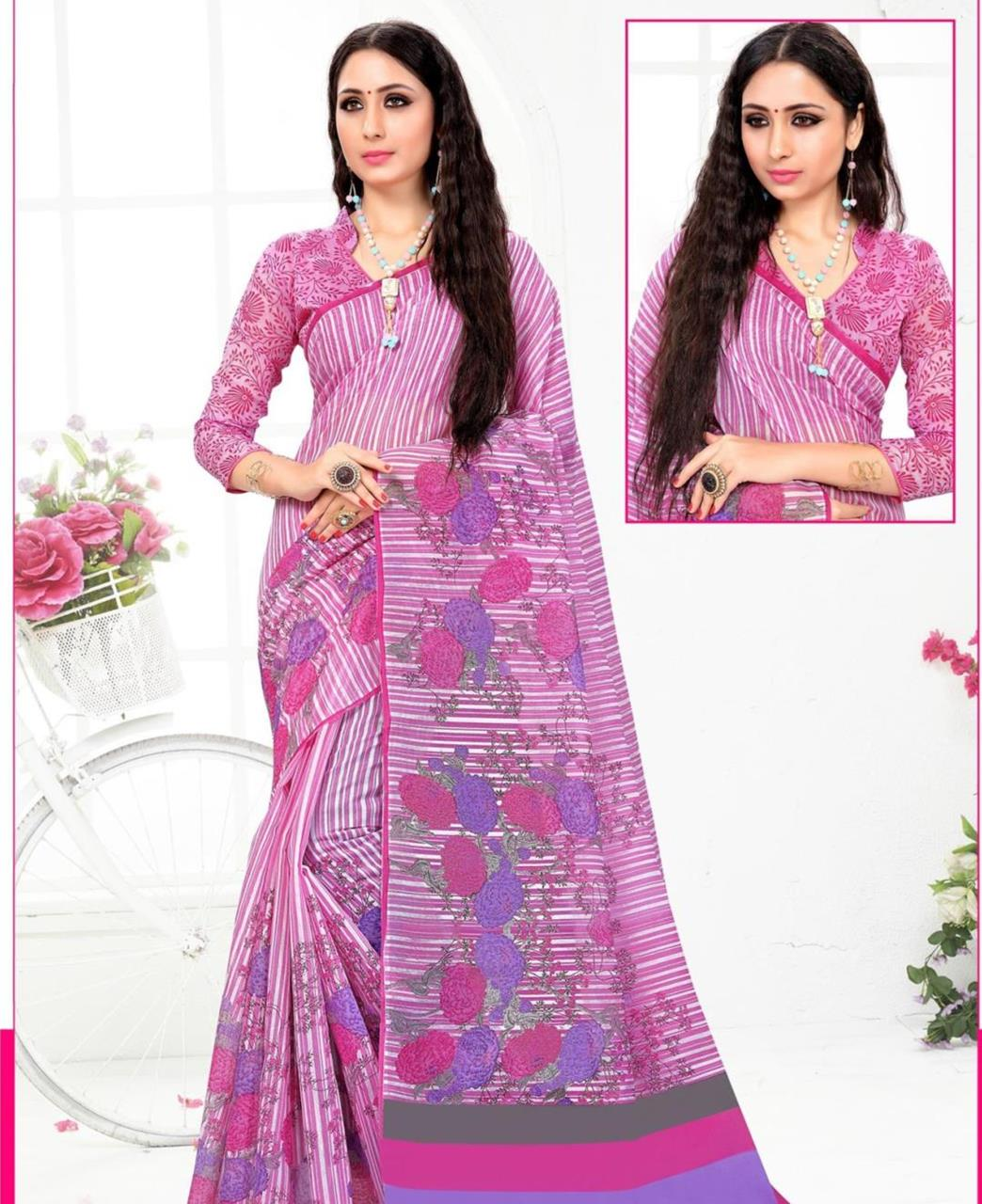 Printed Cotton Saree (Sari) in  Pink
