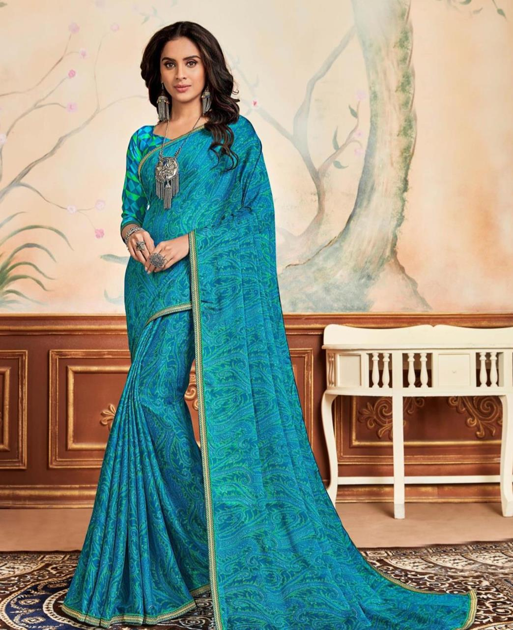 Lace Chiffon Saree in Sky Blue