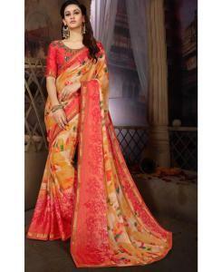 Printed Georgette Saree (Sari) in Orange