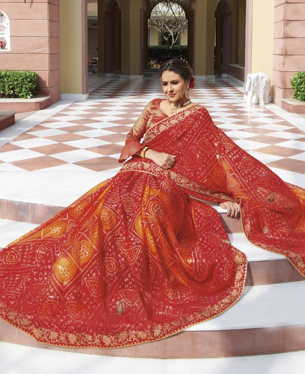 HandWorked Chiffon Saree in Red