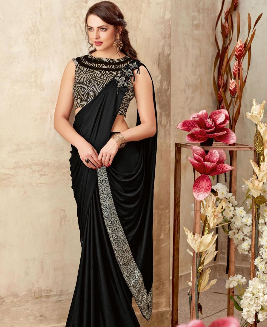 Embellishments Lycra Saree (Sari) in Black