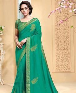 Zari Silk Saree in See Green