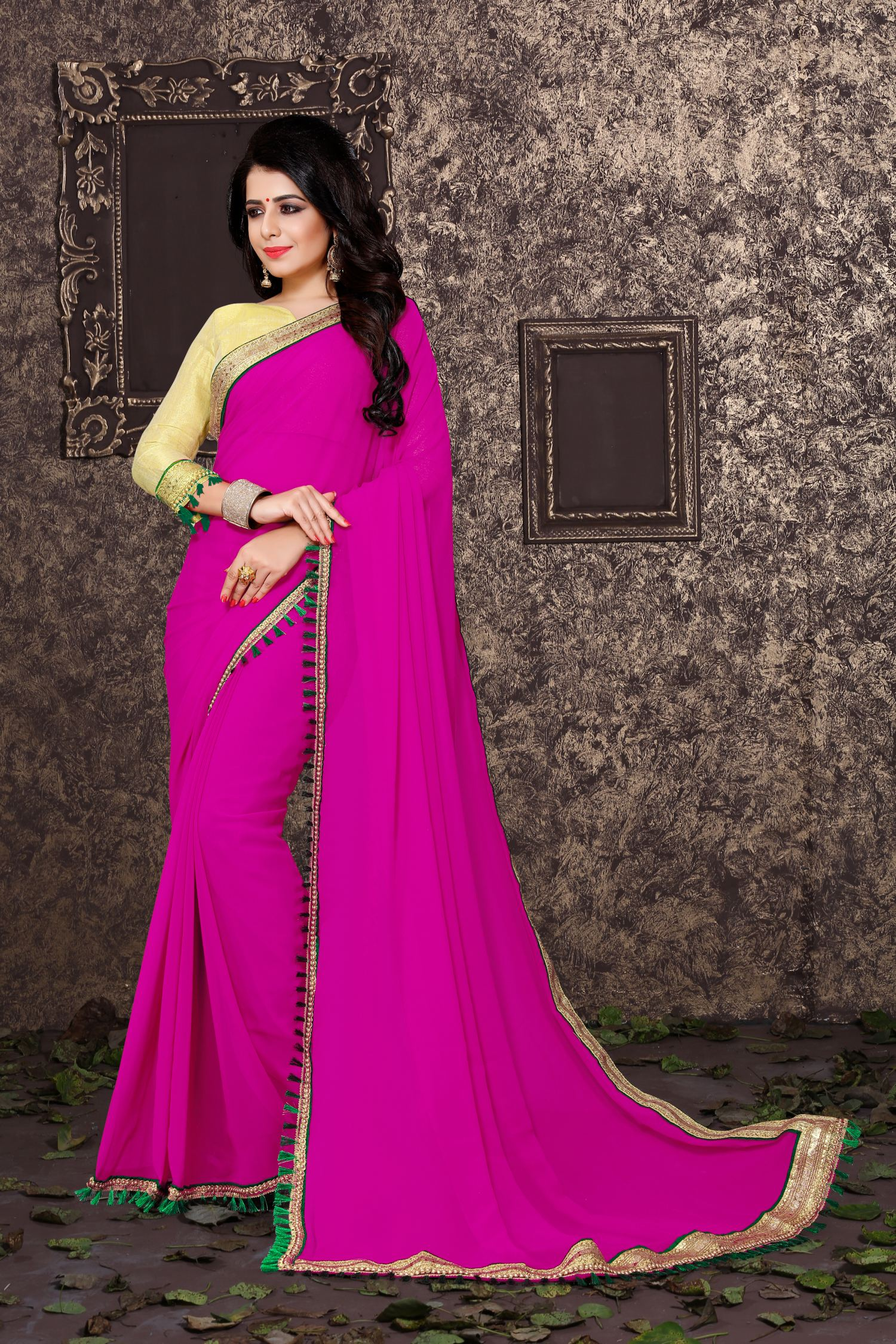 Lace Georgette Saree in Pink