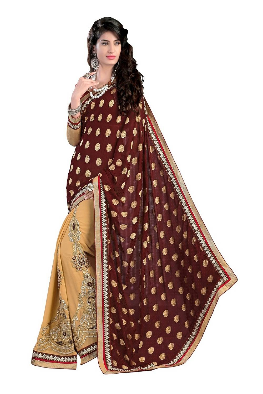 Embroidered Faux Georgette Saree (Sari) in Brown