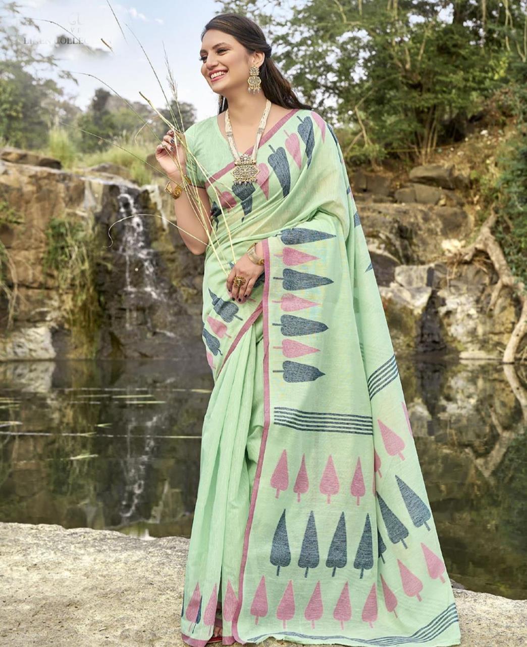 Cotton Saree in Light Green