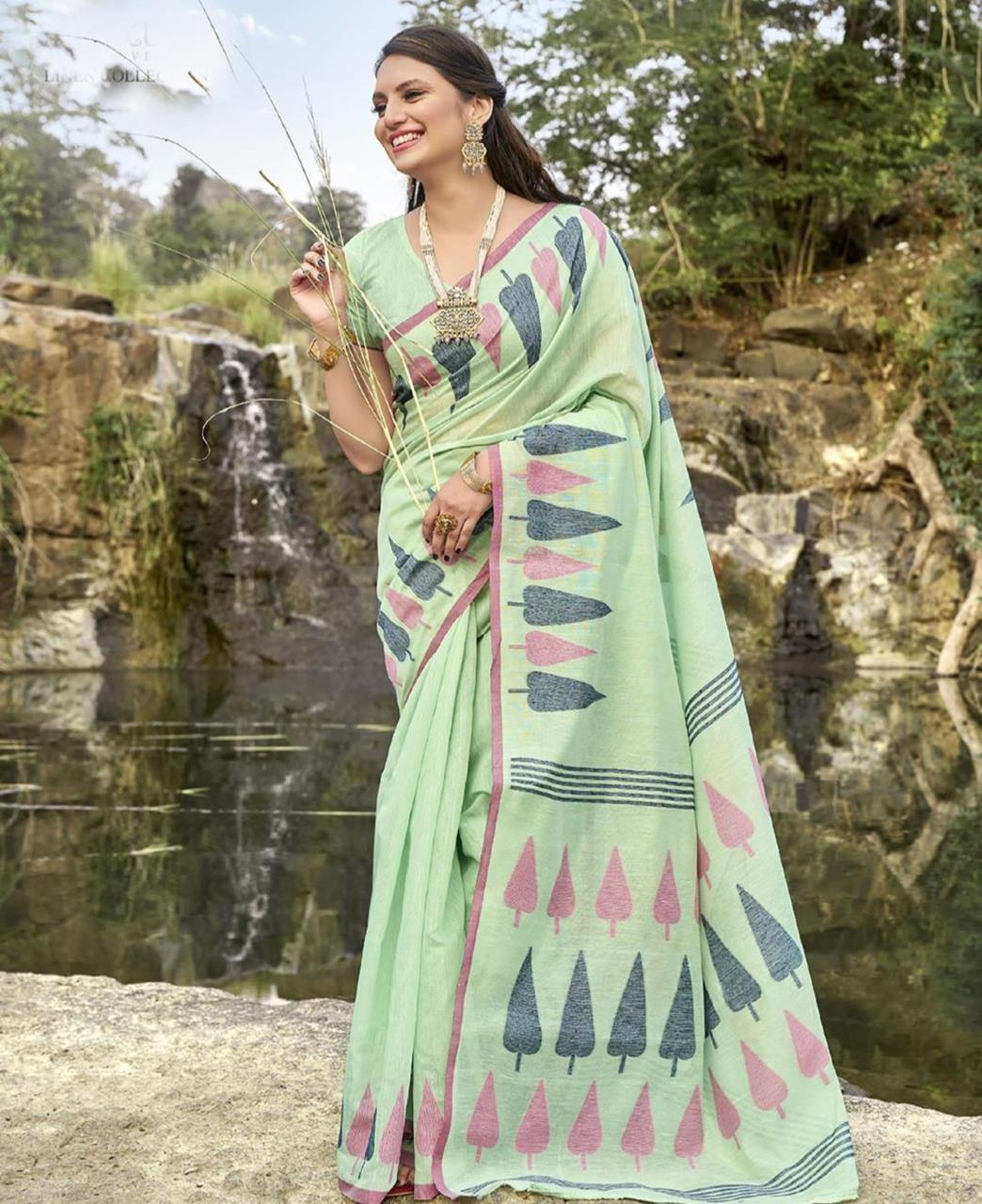 Cotton Saree in Light Green