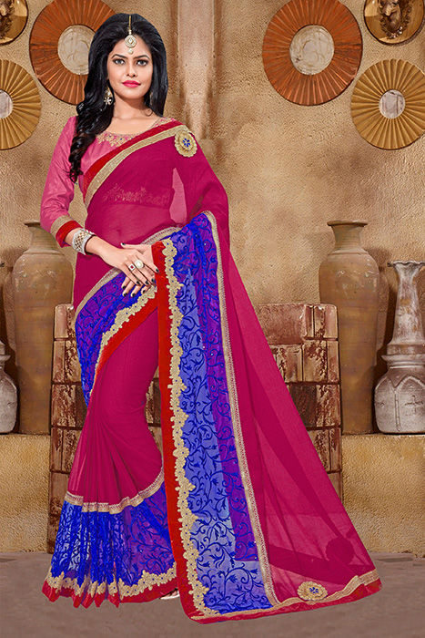 Embroidered Chiffon Saree (sari) in Pink