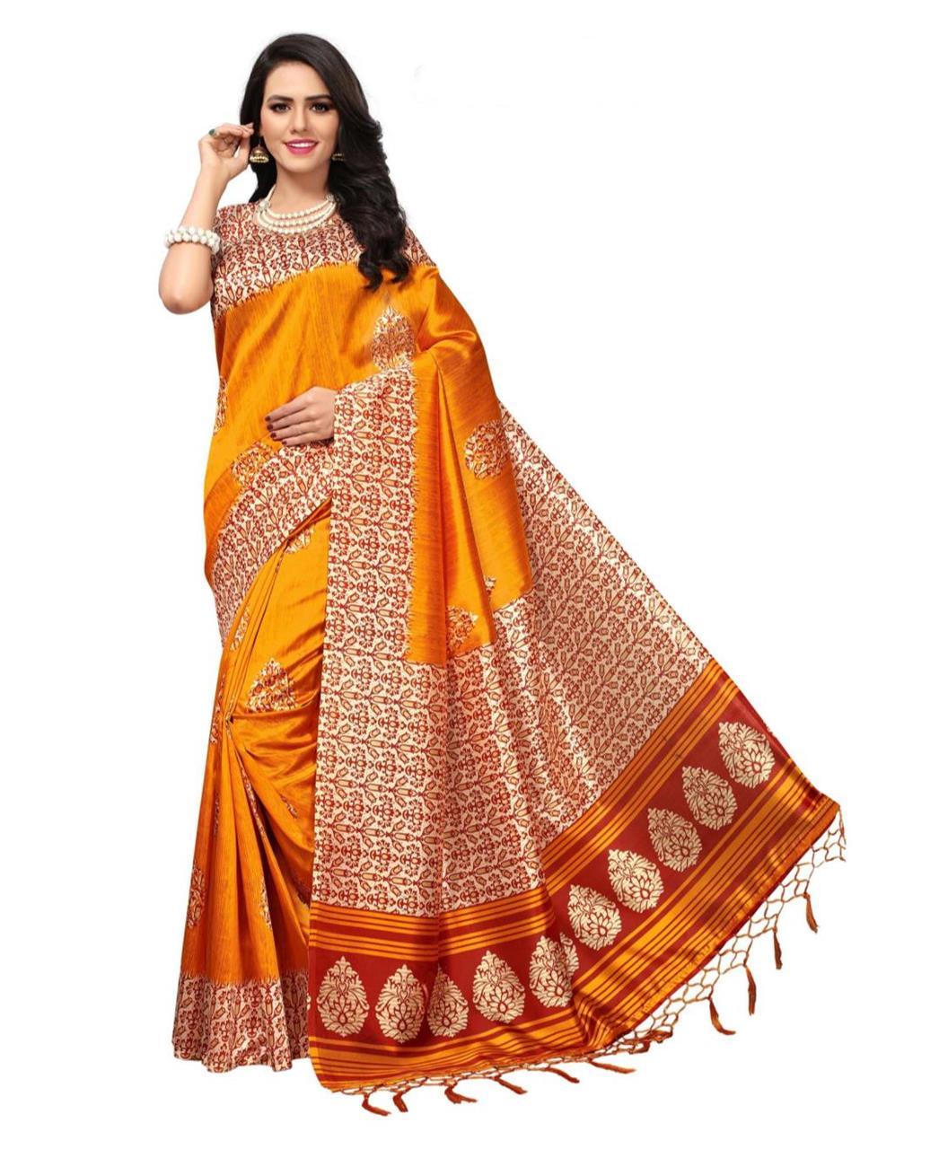 c7d85df230905a Printed Silk Saree (Sari) in Orange