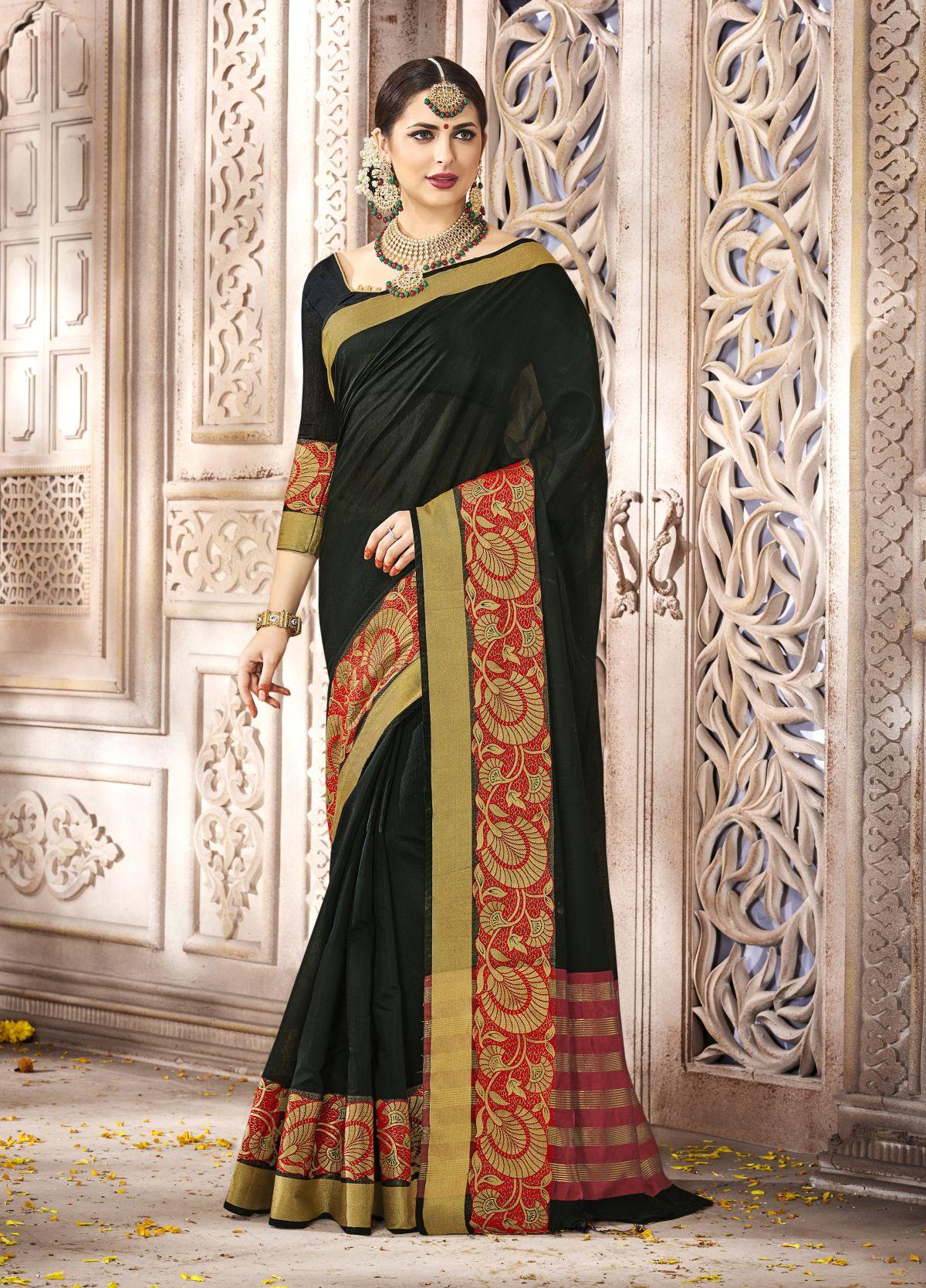 Woven Silk Saree in Black