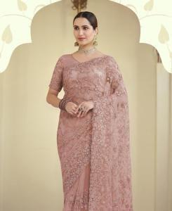 Resham Chiffon Saree in Peach