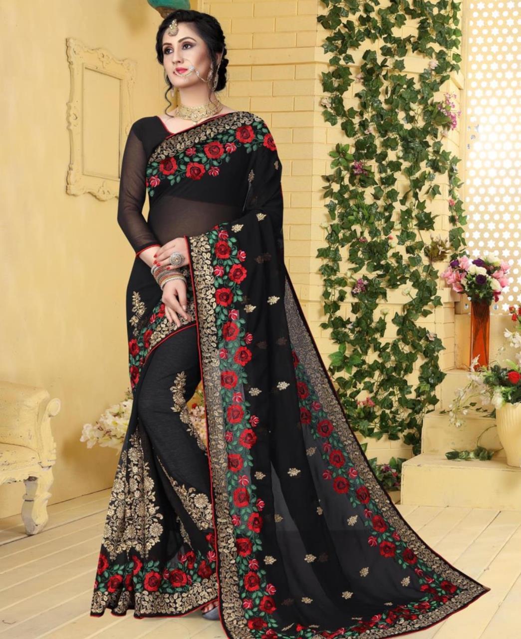 Resham Georgette Saree (Sari) in Black