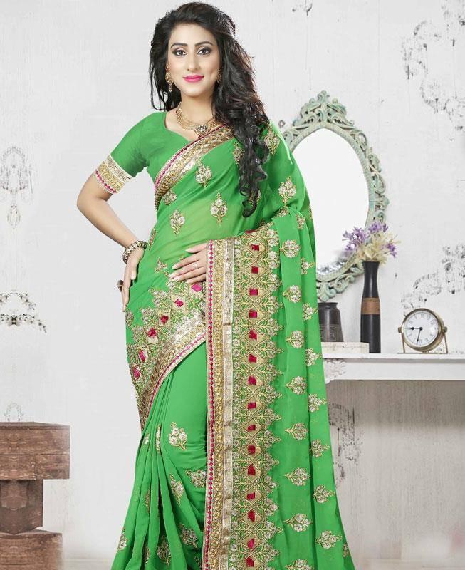 Lace,Embroidered Georgette Saree (Sari) in Green