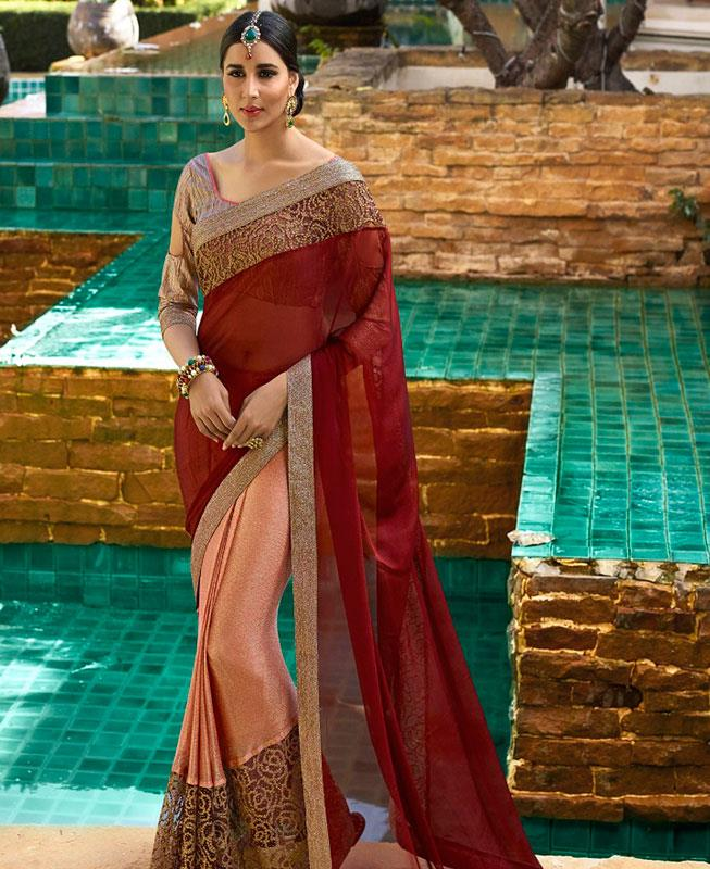 Embroidered Silk Saree (Sari) in Maroon