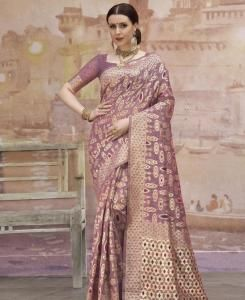 Woven Cotton Saree in Violet