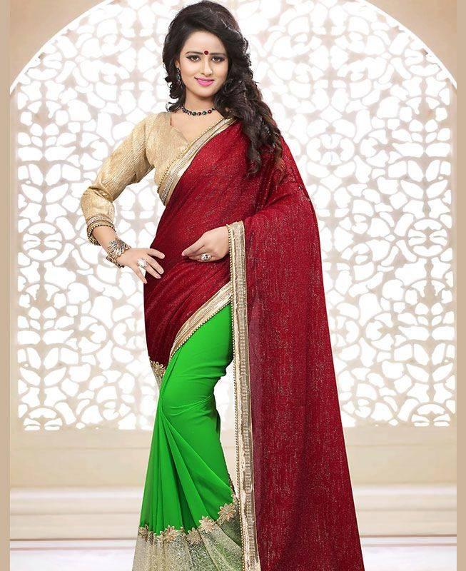 Crystals Georgette Saree (Sari) in Maroon