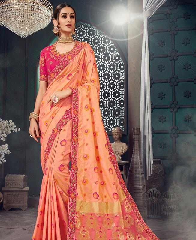 Jacquard Bhagalpuri Silk Saree (Sari) in PeachPuff