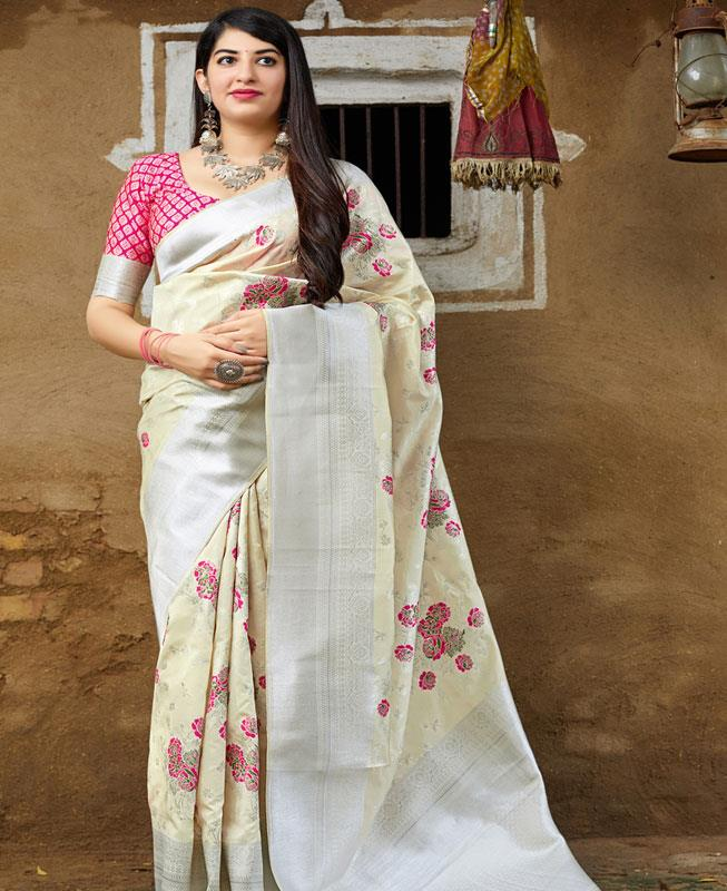 Woven Banarasi Silk Saree (Sari) in Cream
