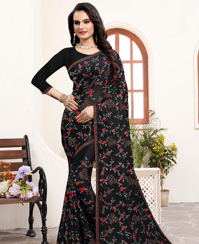 Resham Satin Saree in BLACK