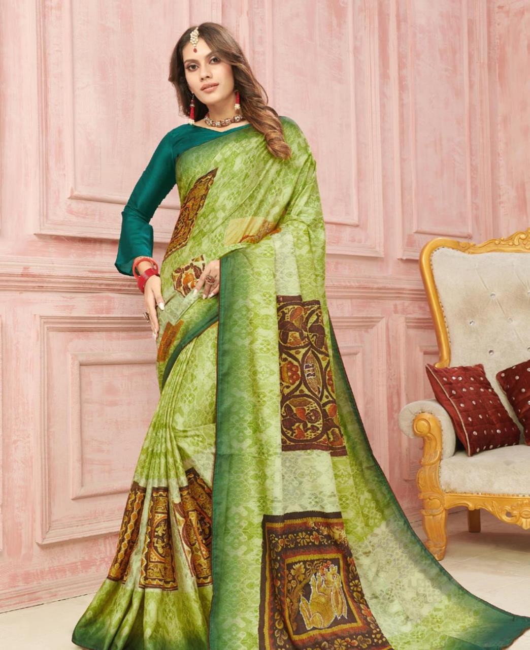 Printed Silk Saree in Green