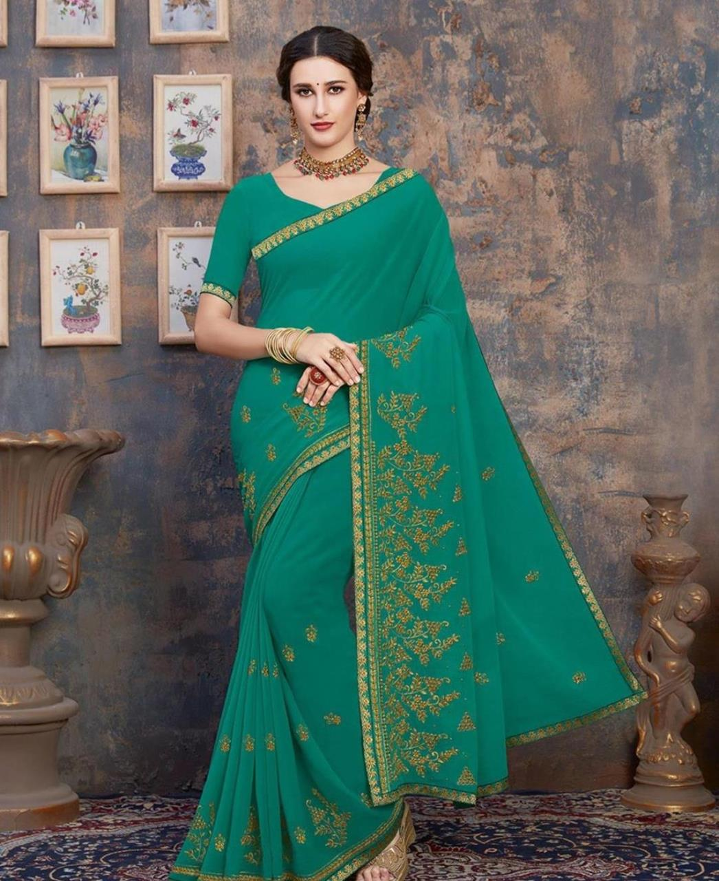 Stone Work Georgette Saree in Sea Green