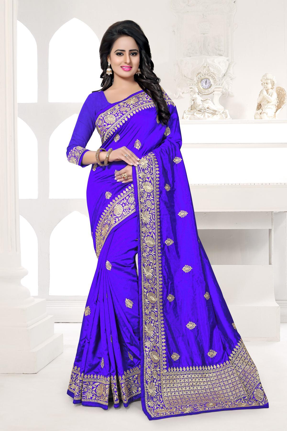 Embroidered Art Silk Saree (Sari) in Violet