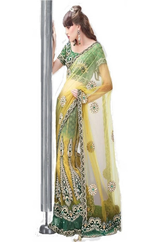 Embroidered Net Saree (Sari) in Yellow
