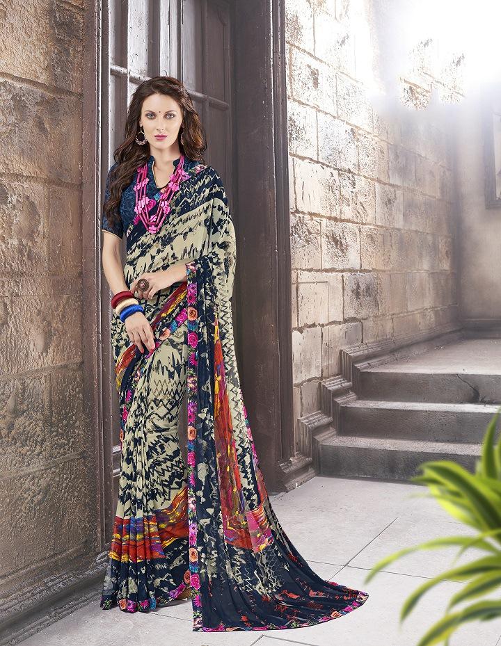 Printed Georgette Saree (sari) in Green